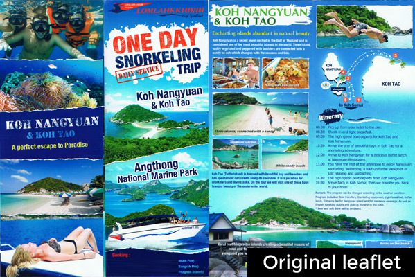 The original leaflet for this trip in Koh Samui looks like this